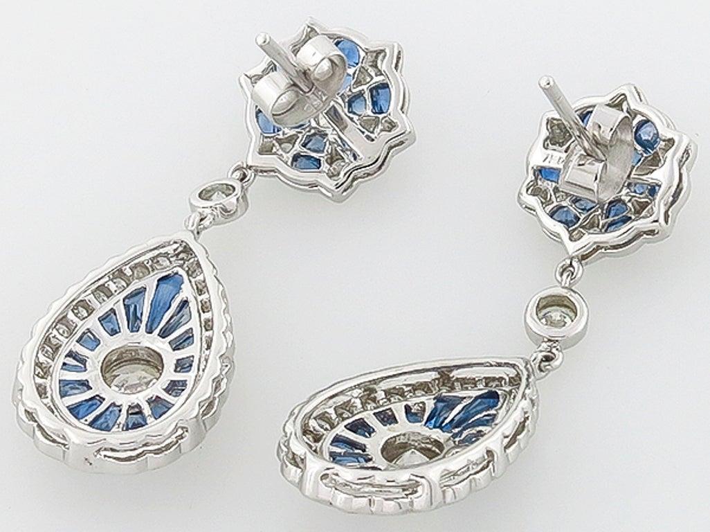 Sapphire Diamond Gold Drop Earrings 4