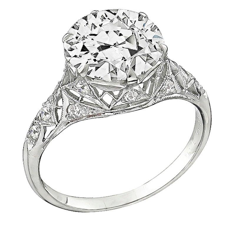 3.61 Carat GIA Cert Diamond Platinum Engagement Ring For Sale