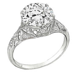 3.61 Carat GIA Cert Diamond Platinum Engagement Ring