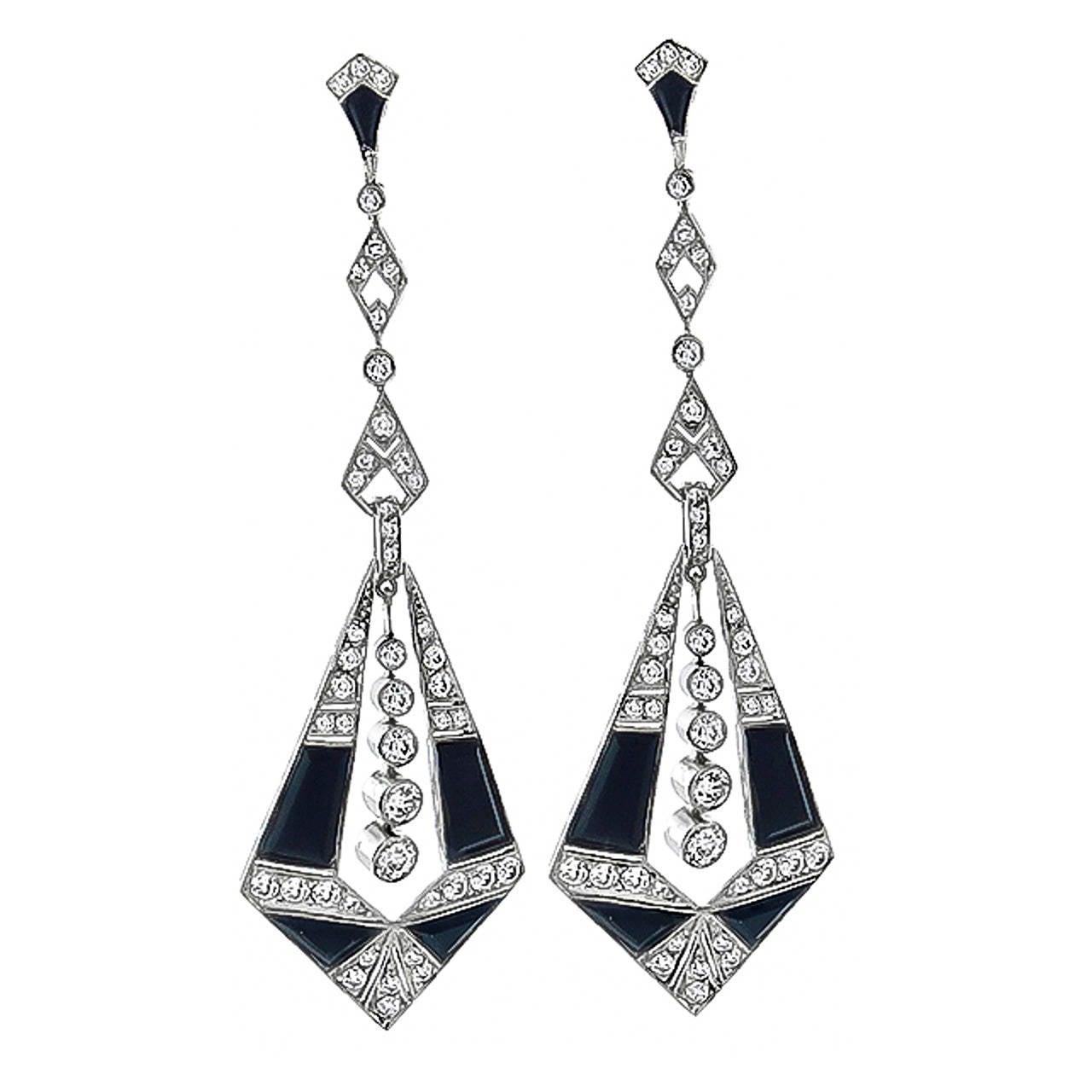 Onyx Diamond Platinum Chandelier Earrings 1