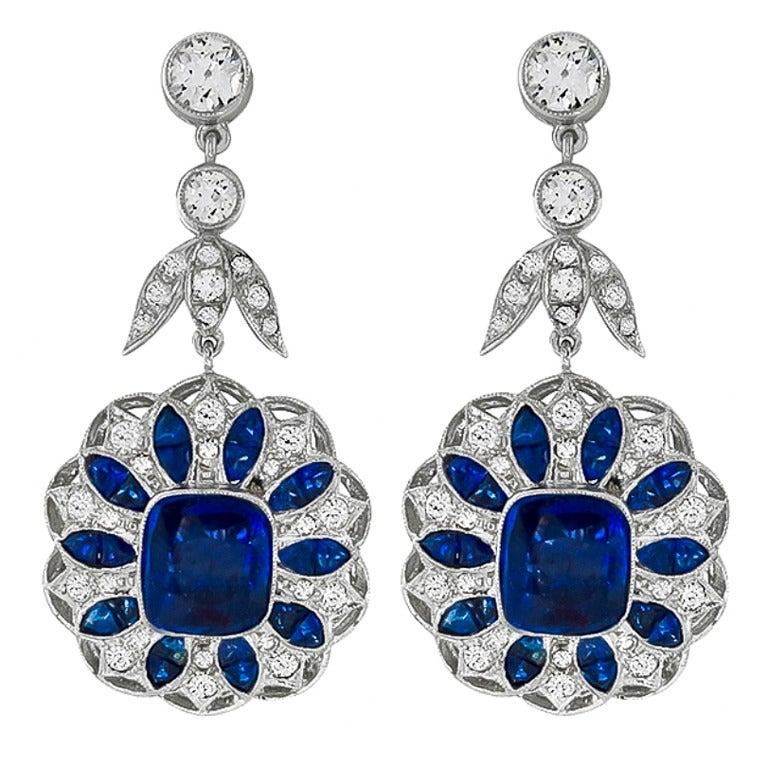 Sapphire Diamond Gold Drop Earrings 1