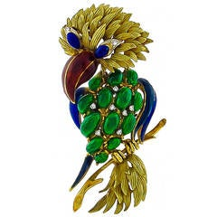 1960s Multi Color Enamel Diamond Gold Parrot Pin