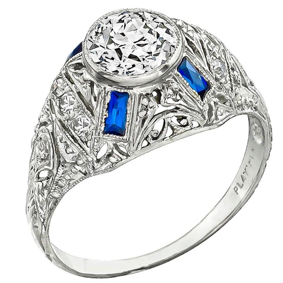 Art Deco 1.03 Carat Old European Cut Diamond Sapphire Platinum Ring