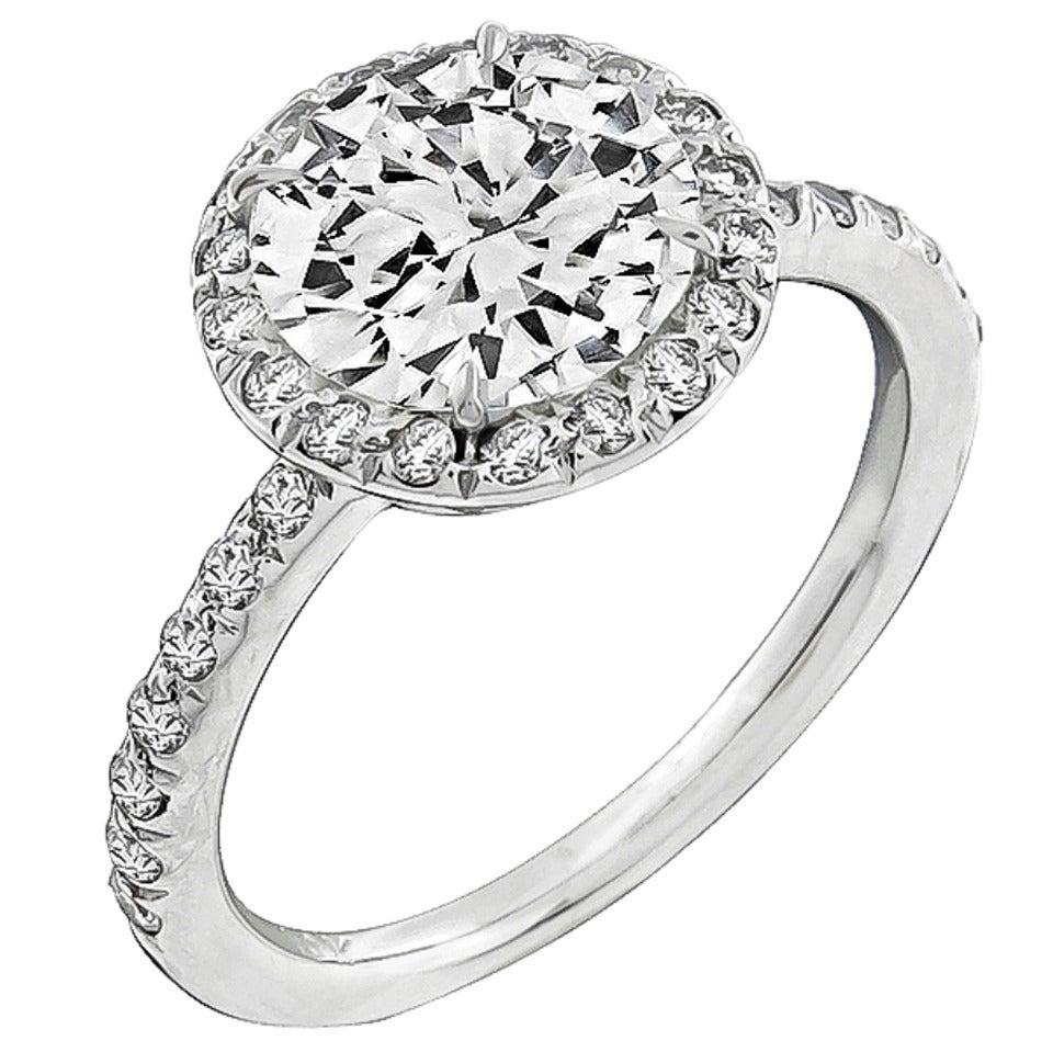 GIA Certified 2.01 Carat Diamond Gold Halo Ring