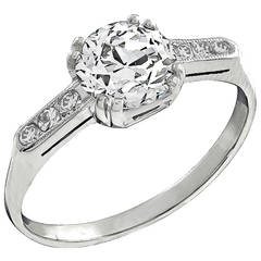 GIA Certified 1.25 Carat Diamond Platinum Engagement Ring