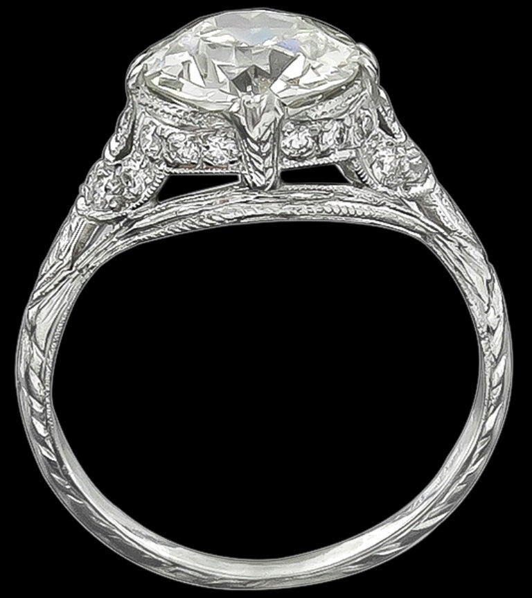 Stunning 2.02 Carat GIA Cert Diamond Platinum Engagement Ring 2