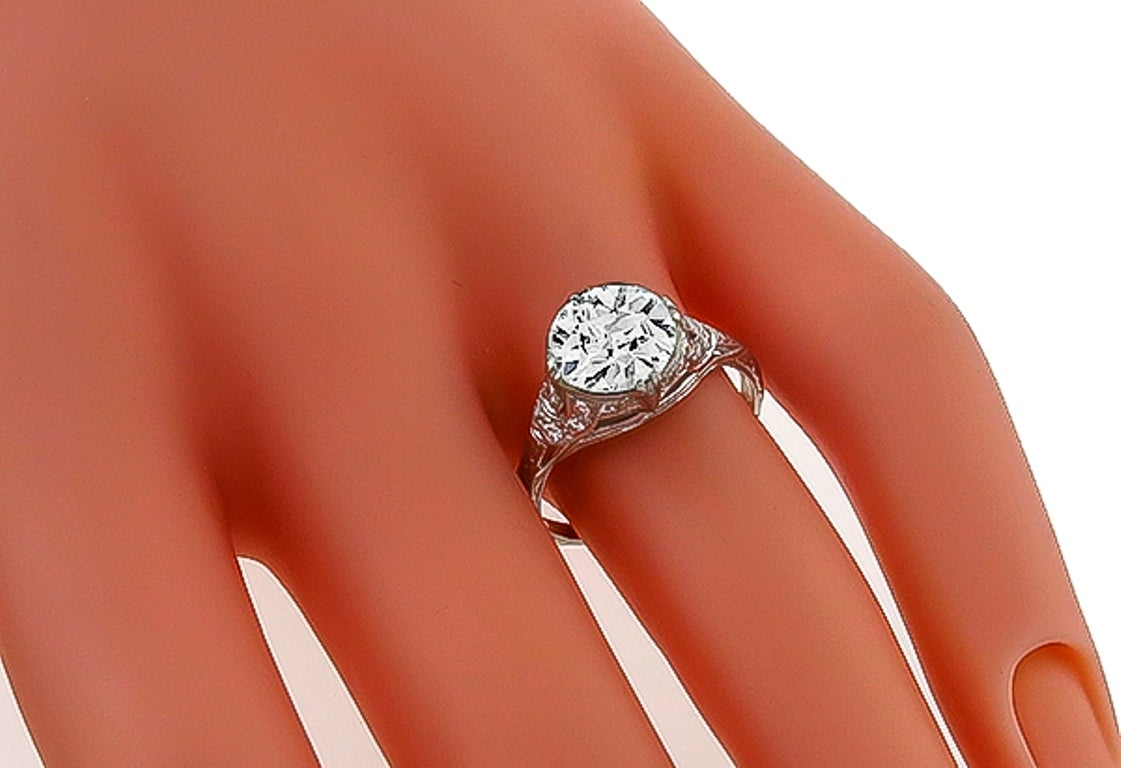 Stunning 2.02 Carat GIA Cert Diamond Platinum Engagement Ring 3