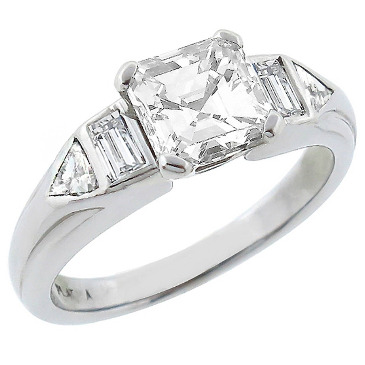 1960s GIA Certified 1 15ct Asscher Cut Diamond Ring For Sale at 1stdibs