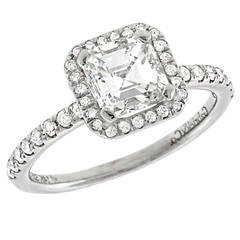 Asscher Cut GIA Cert 1.16 Carat Diamond Gold Engagement Ring