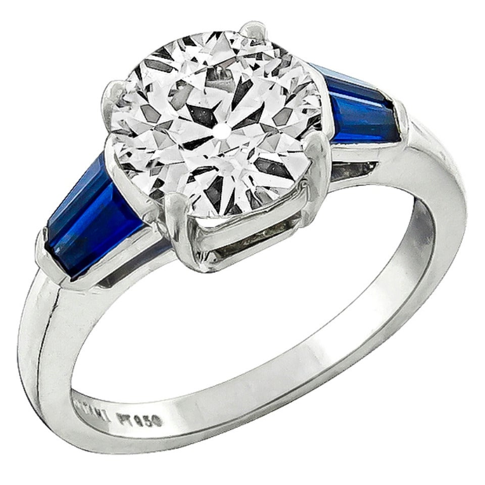 Angelo & Christiani 202 Carat Sapphire Diamond Platinum Engagement Ring 1