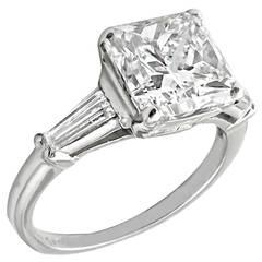 3.38 Carat Princess Cut Diamond Platinum Engagement Ring