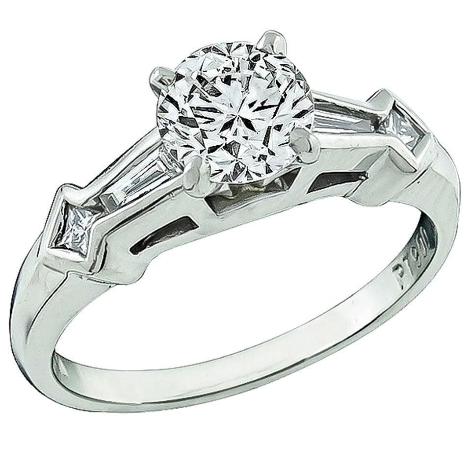 GIA Cert 1.02 Carat Diamond Platinum Engagement Ring