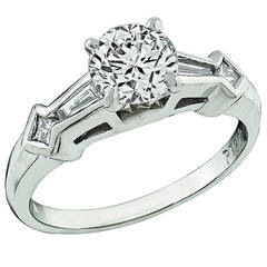 GIA Cert 1.02 Carat Diamond Platinum Engagement Ring