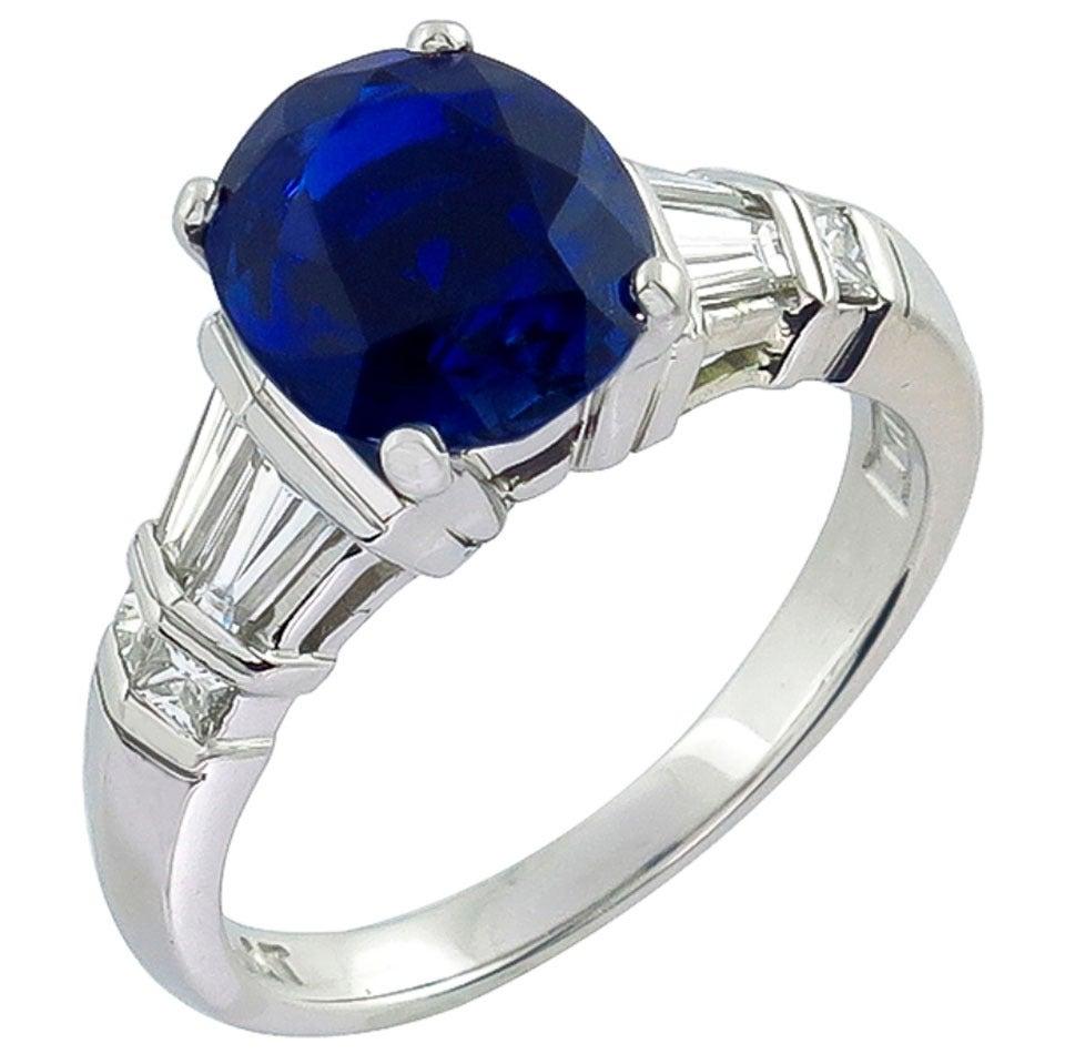 3.08 Carat GIA Cert No Heat Sapphire Diamond Platinum Engagement Ring