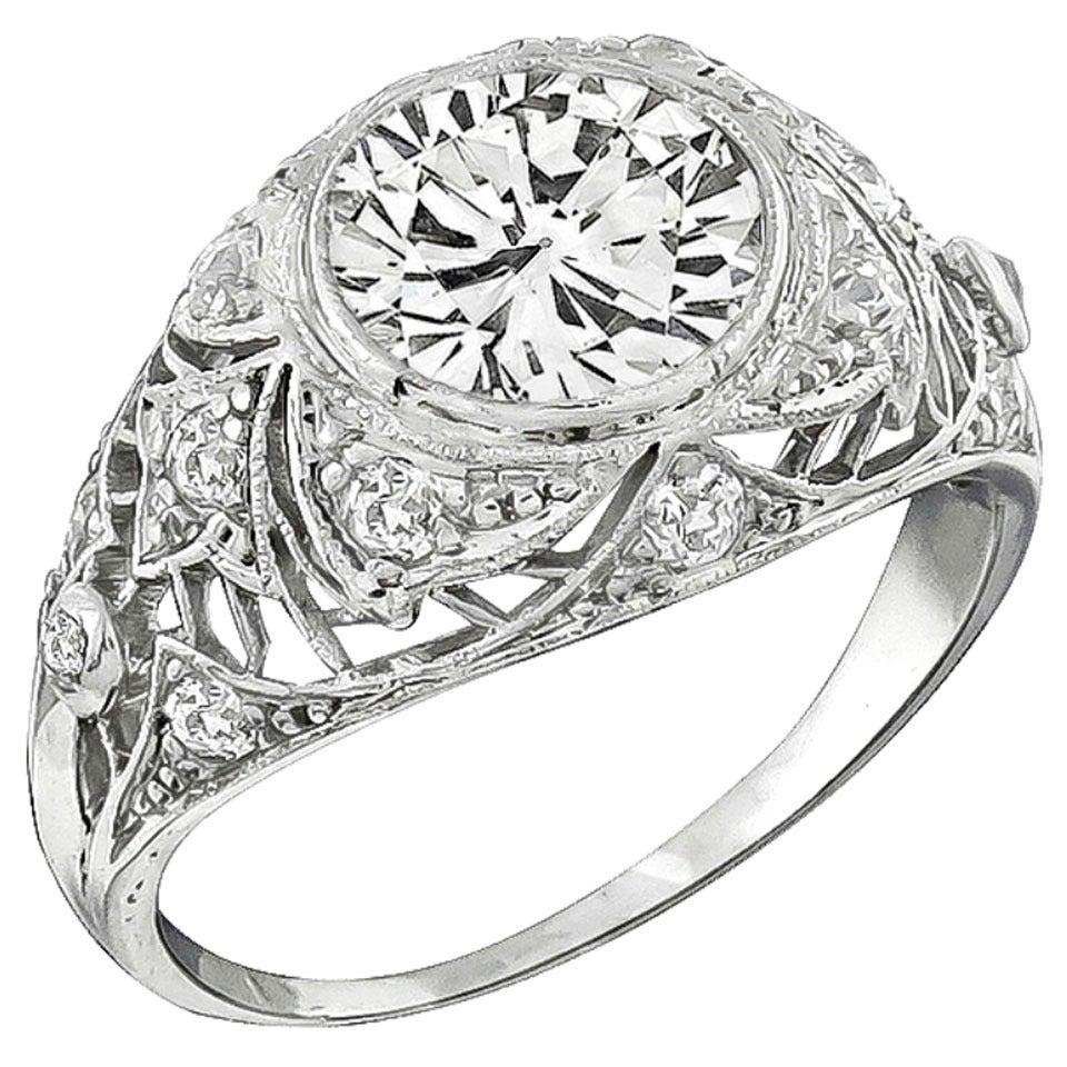 Edwardian GIA  Cert 2.20 Carat Diamond Platinum Engagement Ring