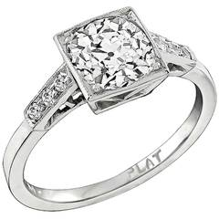 1.61ct. Old Mine Cut Diamond Platinum Engagement Ring