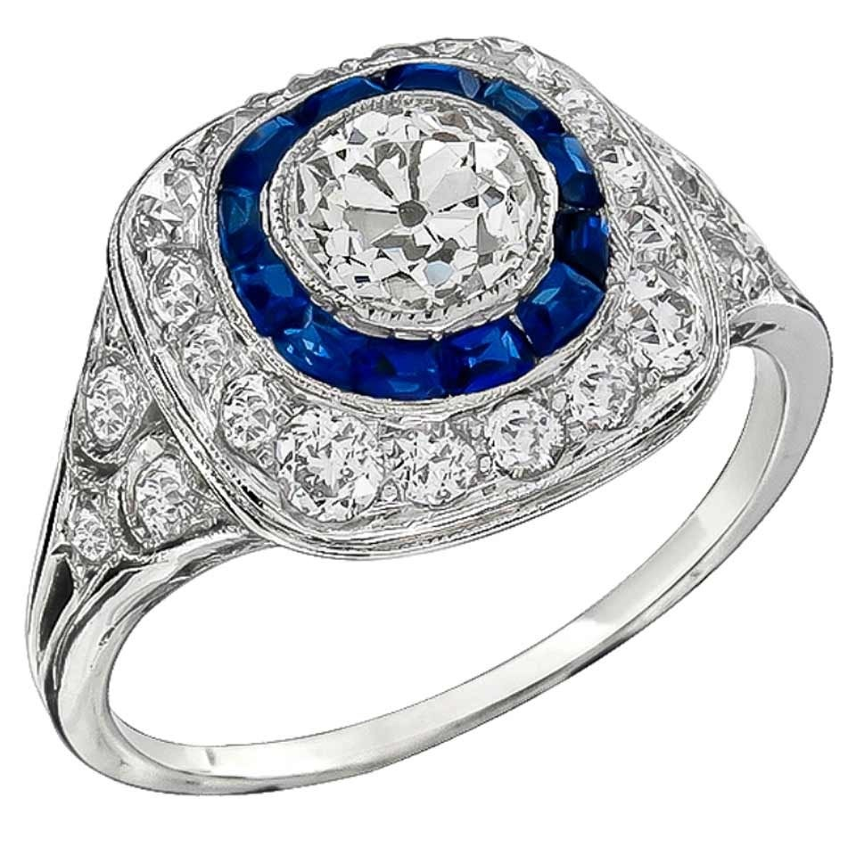 carat sapphire diamond platinum engagement ring for. Black Bedroom Furniture Sets. Home Design Ideas