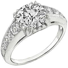 2.20ct. Old European Cut Diamond Platinum Engagement Ring