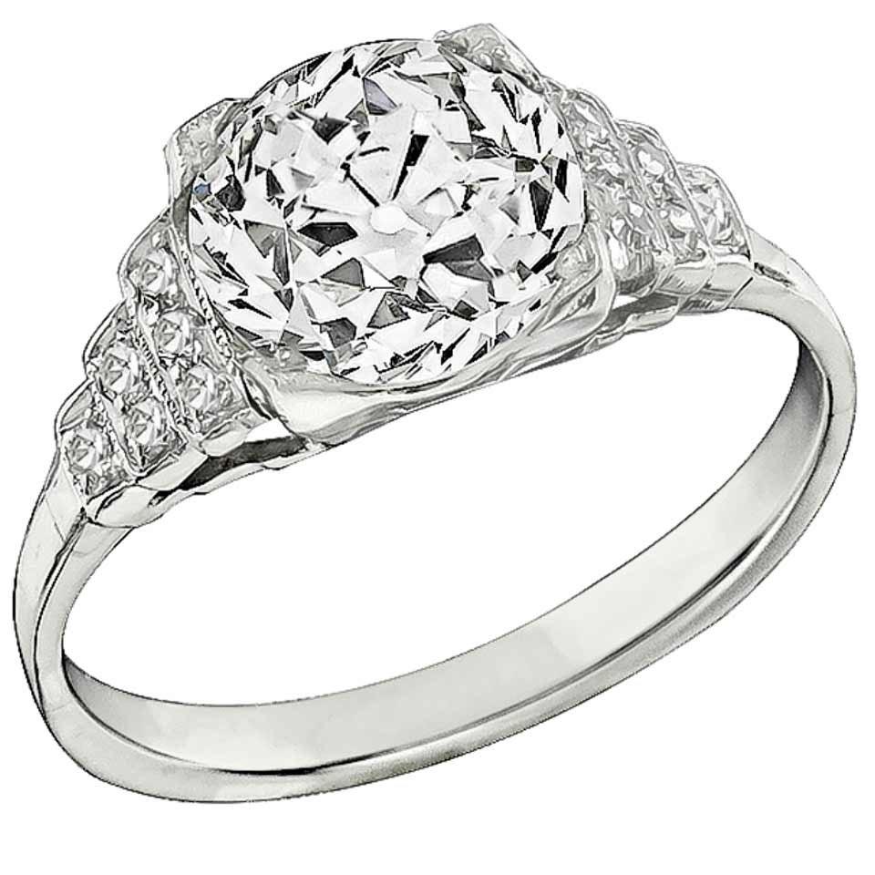 2.22 Carat Old Mine Cut Diamond Platinum Engagement Ring