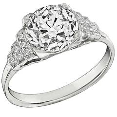 2.22 Carat Old Mine Cut Diamond Platinum Engagement Ring