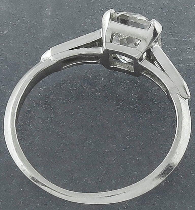 Baguette Cut 1.36 Carat Old Mine Brilliant Cut Diamond Platinum Engagement Ring For Sale
