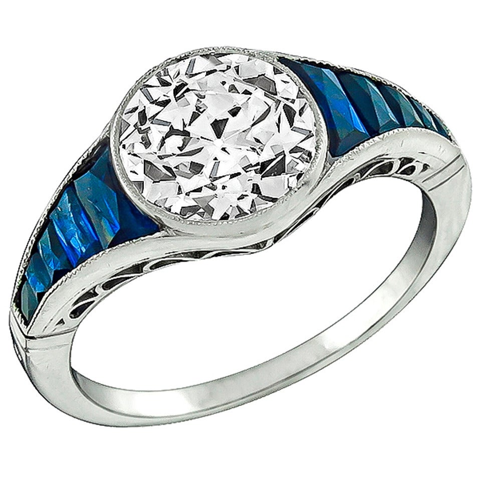 Two Platinum: 2.16 Carat Diamond Sapphire Platinum Engagement Ring For