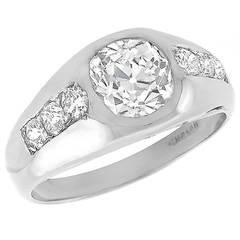 GIA 1.38 Carat Old Mine Brilliant Diamond Platinum Ring