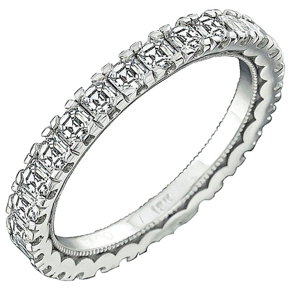 tacori asscher cut gold eternity wedding band for