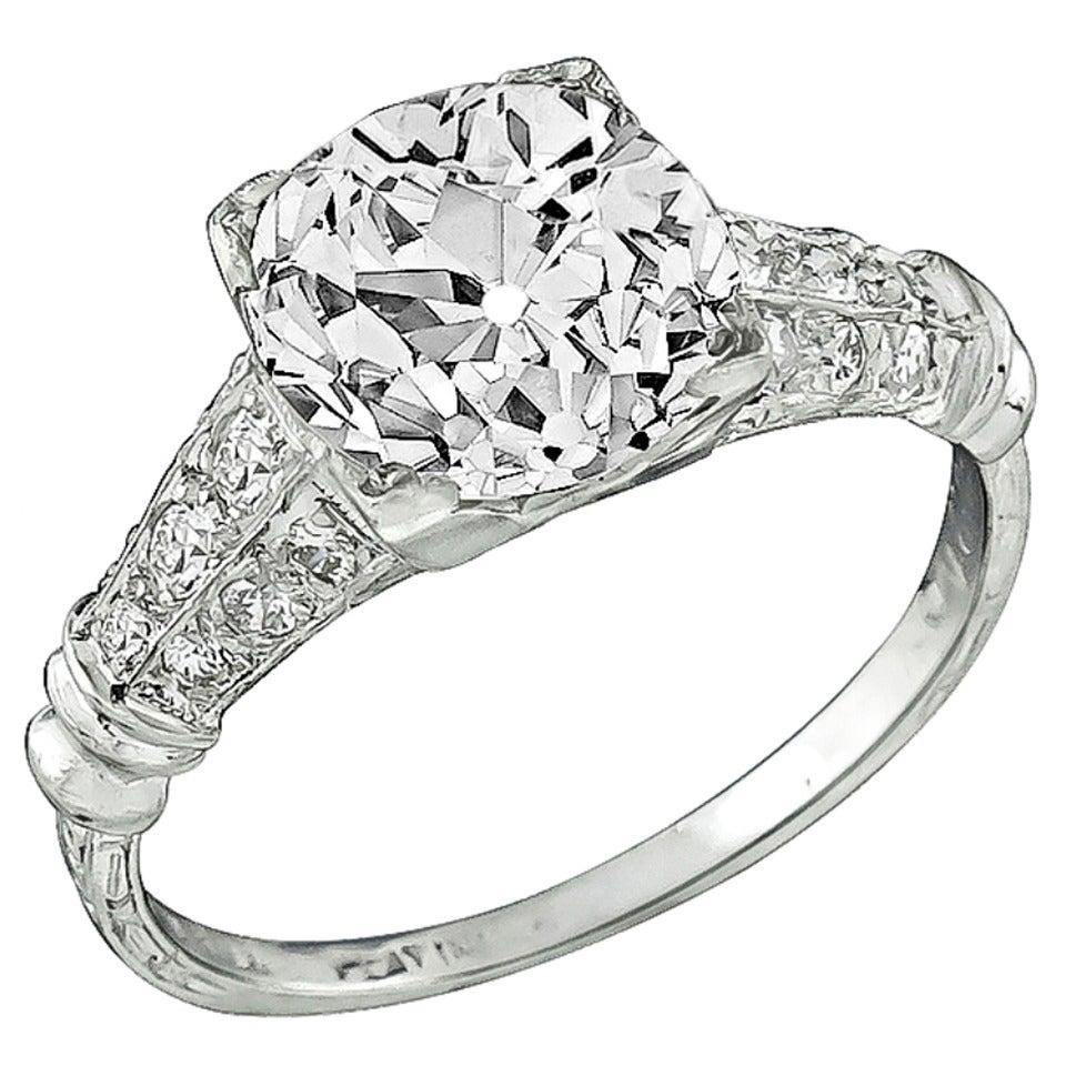 GIA 2.50 Carat Old Mine Cut Diamond Engagement Ring