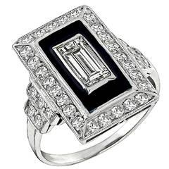 Art Deco Emerald Cut Diamond Enamel Platinum Ring