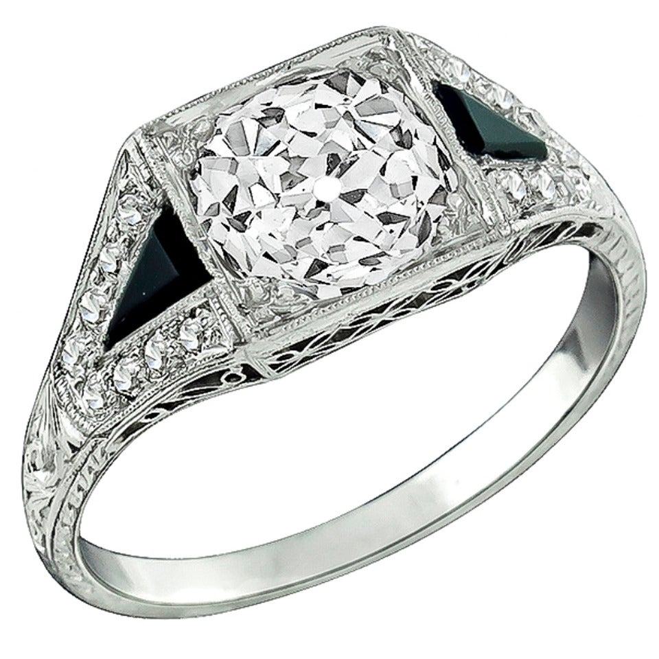 Art Deco 2.03ct. Diamond Onyx Platinum Engagement Ring