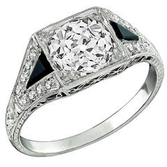 Art Deco 2.03ct. Diamond Onyx Platinum Engagement Ring