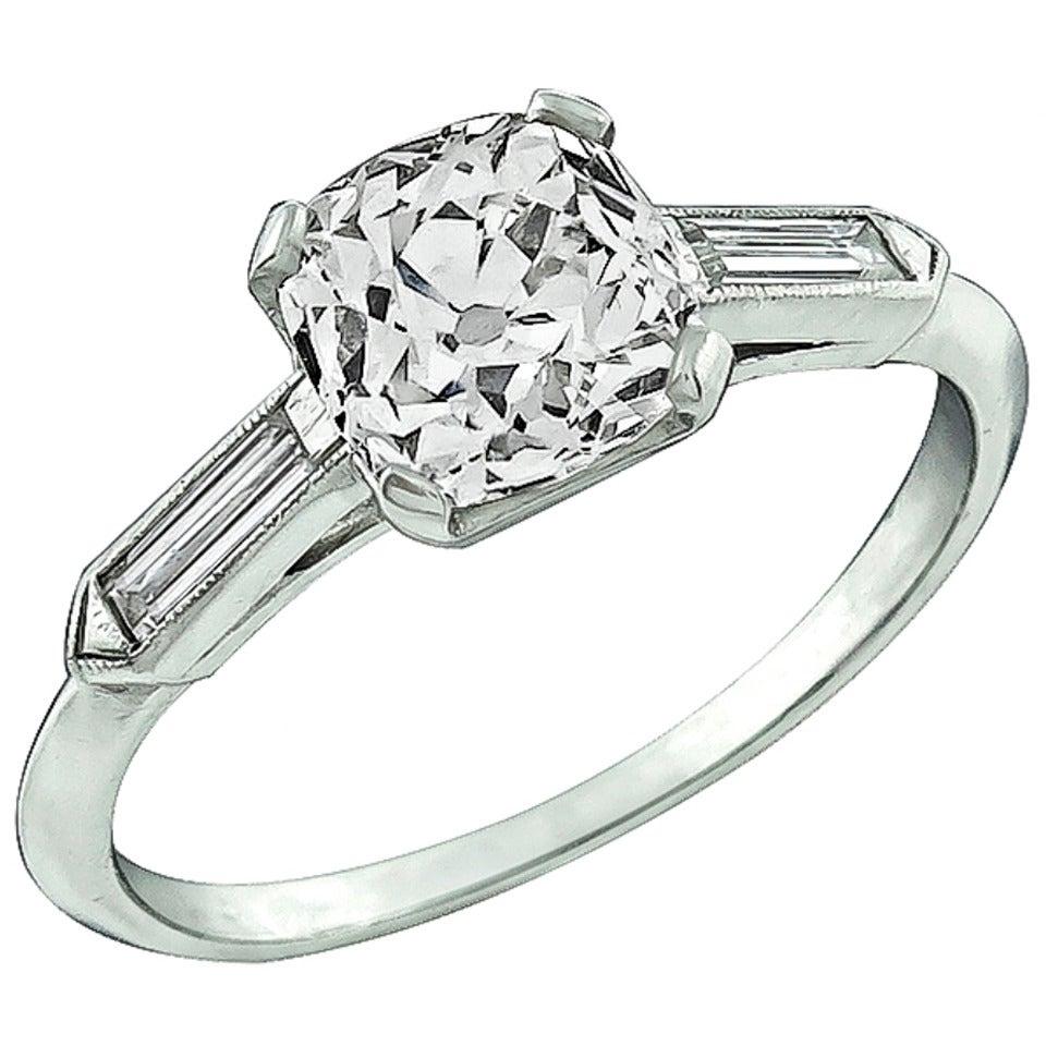 1.36 Carat Old Mine Brilliant Cut Diamond Platinum Engagement Ring