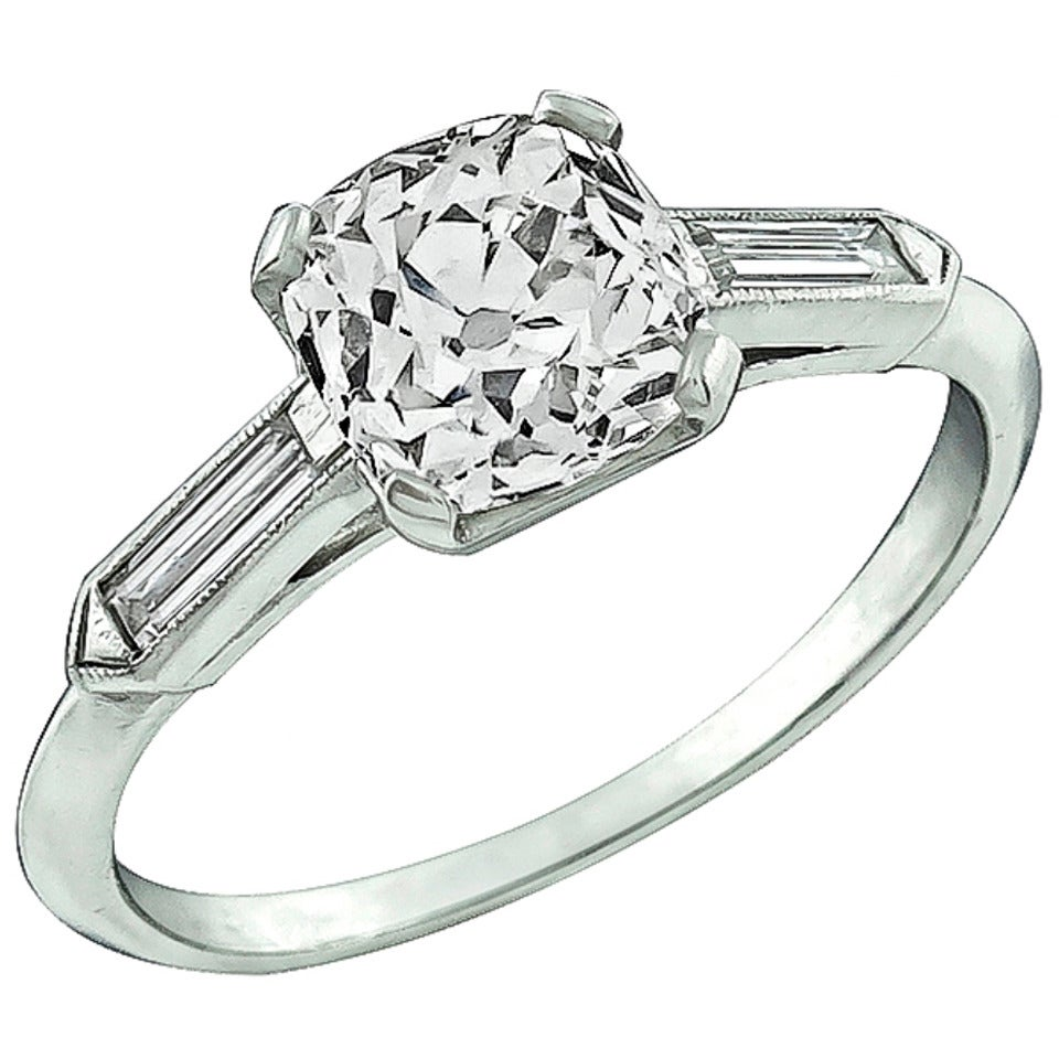1.36 Carat Old Mine Brilliant Cut Diamond Platinum Engagement Ring For Sale