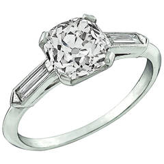 1.36 Carat Old Mine Brilliant Cut Diamond Platinum Engagement Ring