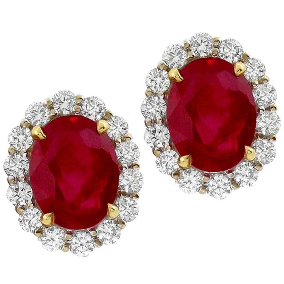 7.37 Carat Natural Burmese Ruby Diamond Gold Earrings
