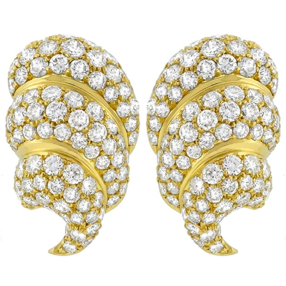 Large Diamond Gold Ear Clips