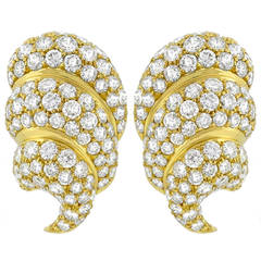 Large Diamond Gold Ear Clips