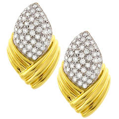 3 Carat Diamond Two Color Gold Earrings