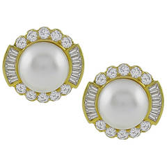 Mabe Pearl Diamond Gold Ear Clips