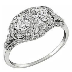 Edwardian Cushion Cut Diamond Platinum Ring