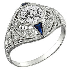 Art Deco Sapphire Diamond Platinum Engagement Ring