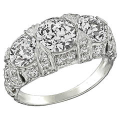 GIA 1.24 Carat Center Diamond Platinum Anniversary Ring