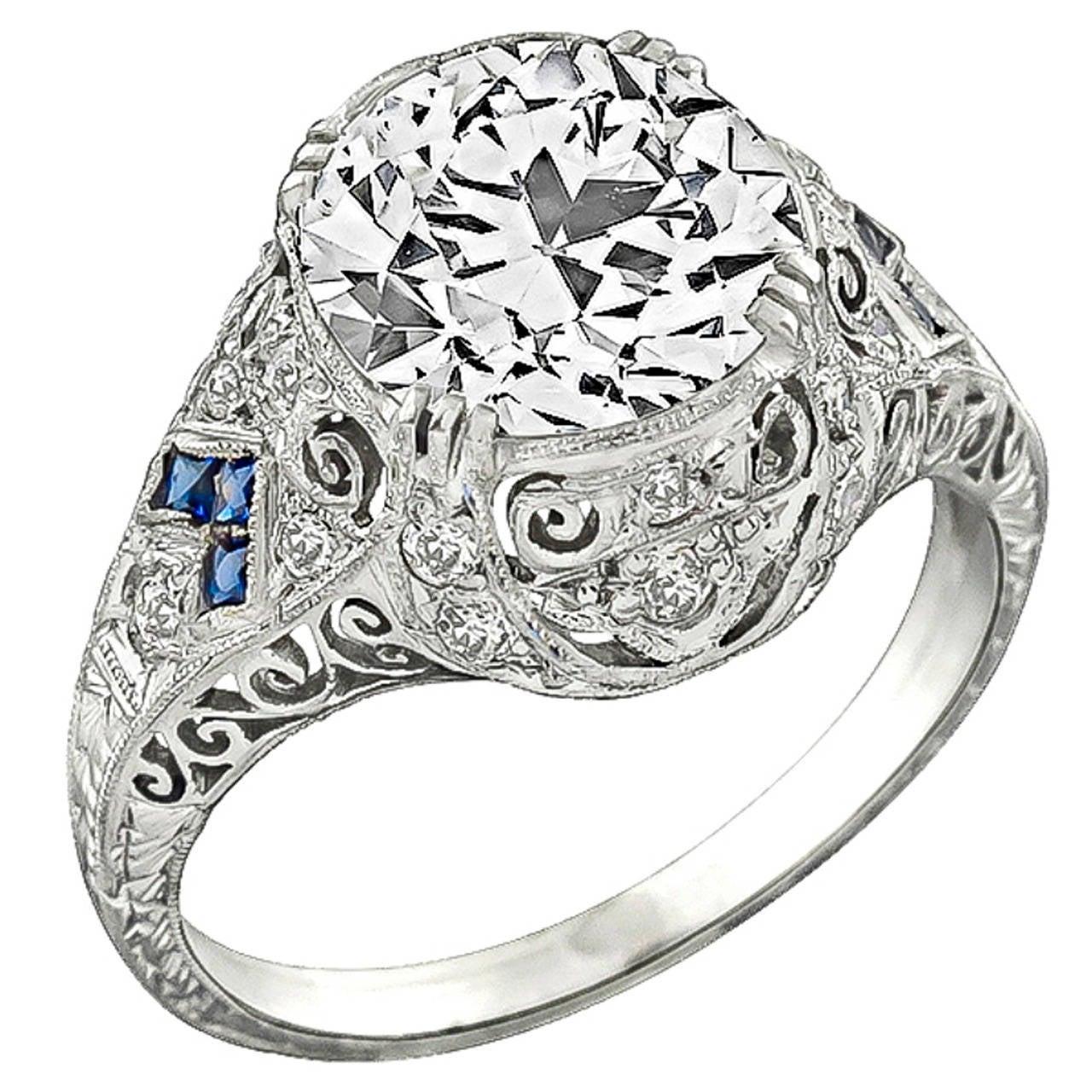 Art Deco 3.12 Carat GIA Cert Diamond Platinum Engagement Ring