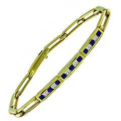 Tiffany & Co. Sapphire Diamond Gold Link Bracelet