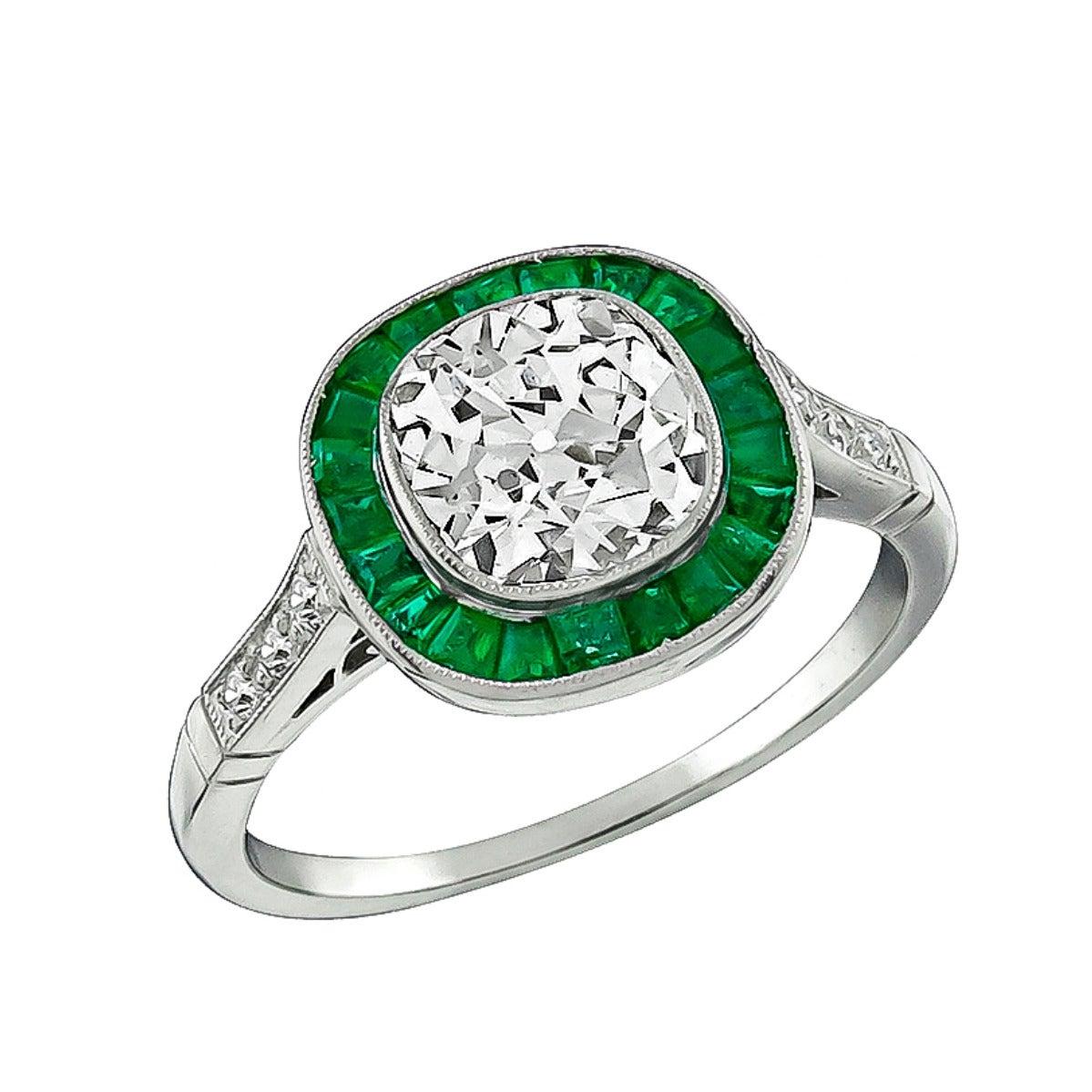 1.74 Carat Emerald Diamond platinum Engagement Ring