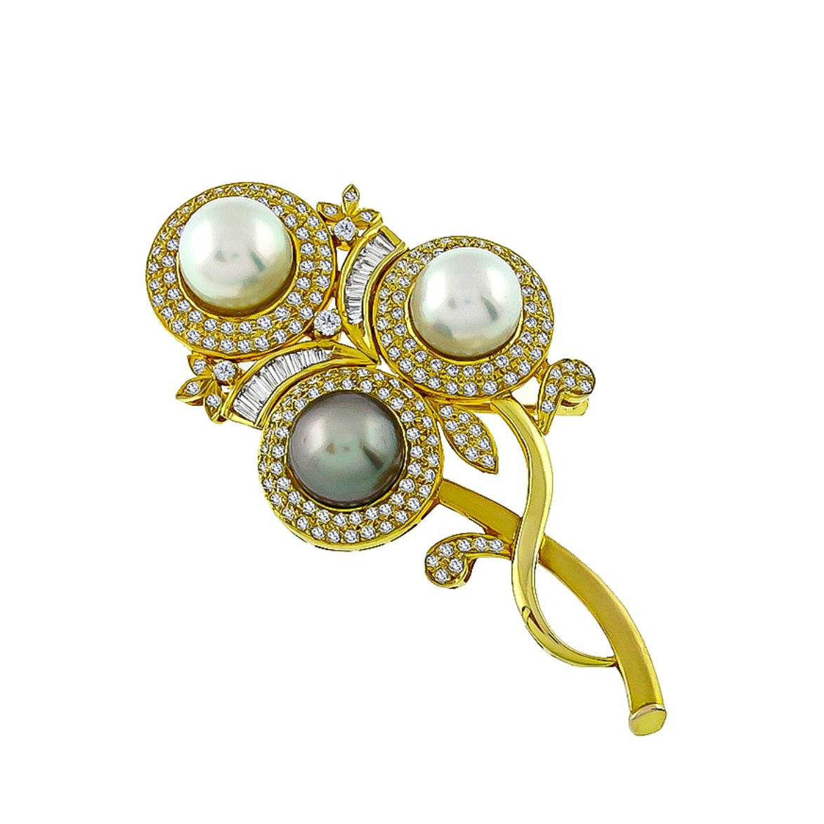 Amazing South Sea Pearl Diamond Flower Pin Pendant For Sale