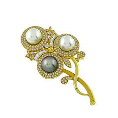 Amazing South Sea Pearl Diamond Flower Pin Pendant