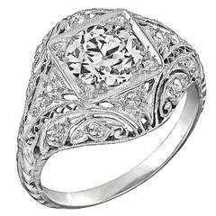 Art Deco 1.22 Carat Old European Cut Diamond Platinum Engagement Ring