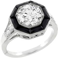 1.74ct Old Mine Cut Diamond Onyx Platinum Ring